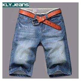 牛仔短褲男士 薄款五分褲青少年中褲 直筒七分短褲 男 破洞