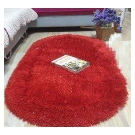 長毛彈力絲絨地毯 加厚加密臥室床邊飄窗 橢圓形地墊 70140CM 大紅色 F45