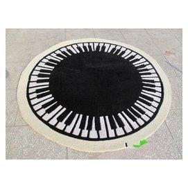 晴綸地毯 圓形地毯 鋼琴圖案 黑白色 150150CM 可訂制 兒童 黑底黃邊 F45