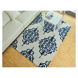 簡約 織造綸地毯 客廳臥室沙發茶幾 加厚化纖 美式 白藍色 F19