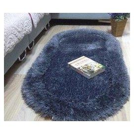 長毛彈力絲絨地毯 加厚加密臥室床邊飄窗 橢圓形地墊 70140CM 深灰色 F45