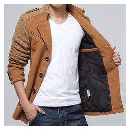 鼕季男立領短款風衣 修身青年羊毛呢子大衣加絨加厚外套大碼男