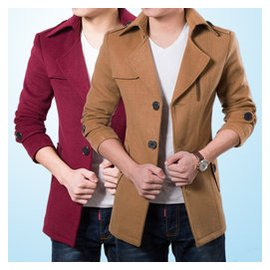 秋鼕男士大衣男夾克翻領外套青年中長款男裝修身西裝領呢子風衣潮