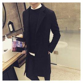 鼕季男士毛呢料青年簡約 中長款加厚風衣潮男修身呢子大衣外套