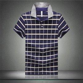 海之郎 2016夏裝 大碼拼色條紋格子恤衫 寶藍色