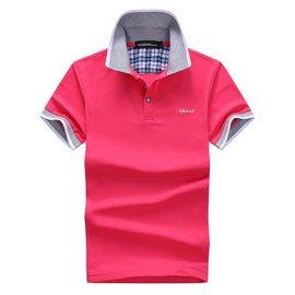 短袖恤 正品男裝 2016  翻領短袖衫 多彩純棉體恤衫 玫瑰紅色