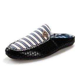 2016年 新品3鳥巢半拖鞋男潮流男士涼拖鞋沙灘鞋洞洞鞋男涼鞋男士拖鞋 藍色條紋 44