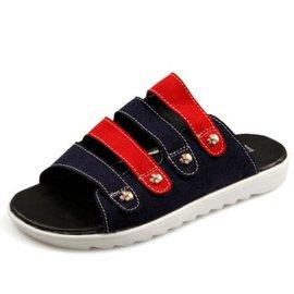 賽洛馳 新品潮流沙灘鞋男涼鞋 露趾洞洞鞋拖鞋 青年羅馬皮涼拖 藍色 42