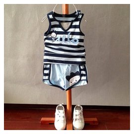 allo lugh男童純棉藍色條紋 套裝阿路和如女寶無袖背心 短褲子