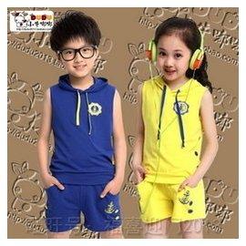 男童夏裝套裝潮兒童中大童無袖 服2015小學生 黃色藍女