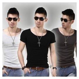 男士打底衫短袖T恤黑色緊身半袖純棉大圓領修身 內衣夏小衫