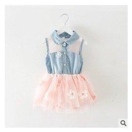 2015夏裝 女童牛仔裙 寶寶無袖背心連衣裙兒童網紗公主裙