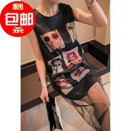 韓國訂單立體女人頭像印花背心裙網紗拼接夾層連衣裙修身
