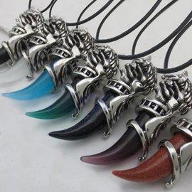至尊狼牙黑瑪瑙鈦鋼男士項鏈 復古 吊墜男飾品掛飾