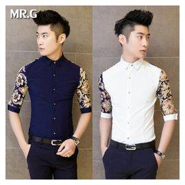 夏裝 修身男裝拼接七分袖襯衫男士中袖7襯衣英倫短袖襯衫男潮
