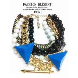 滿包郵 串珠金屬鏈亞克力立體三角多元素男女款2色手鏈配飾品
