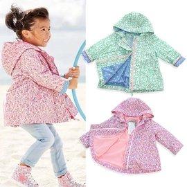 英國 兒童女童印花碎花風衣 防風外套夾克 連帽保暖絨拉鏈衫