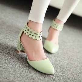 尖頭粗跟中跟涼鞋女縷空綁帶小清新甜美學生涼鞋羅馬鞋公主鞋