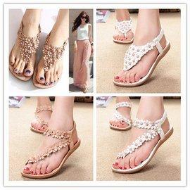夏 平底平跟涼鞋波西米亞軟底舒適涼鞋夾腳趾花朵涼鞋女鞋