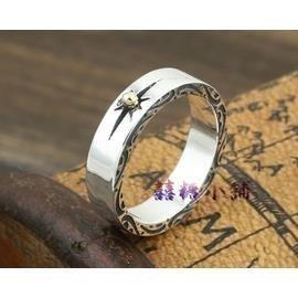 S925純銀高橋吾郎goro s飾品 復古泰銀點金射線指環 兩邊斑紋戒指