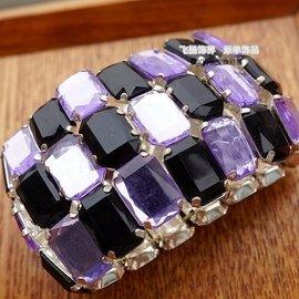 黑紫色亞克力寶石寬手鏈 原單外貿首飾品女生 氣質誇張