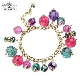 happyqueen手鏈 飾品 女  多層 復古手環水晶亞克力珠