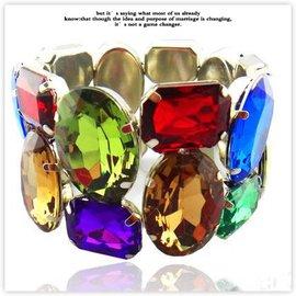 絢麗多色亞克力水鑽鋯石手環寬幅女式手鐲彩色手鏈不規則