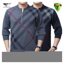 七匹狼男士羊絨衫半高拉鏈羊毛衫中年裝針織衫大碼加厚爸爸裝包郵