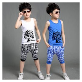 2015  男童中大童兒童純棉無袖背心短褲T恤兩件套套裝