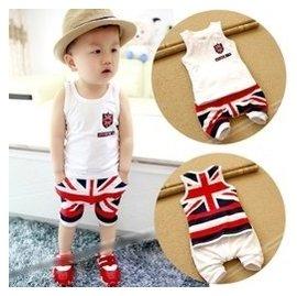 男寶寶夏裝套裝 0~1~2~3歲嬰兒 外出服 6個月男童純棉無袖套裝