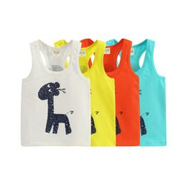 拉比樹2015夏裝 長頸鹿卡通小童背心 寶寶無袖T恤 男童女童嬰兒裝