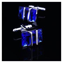 爆款 藍色紫色水晶袖扣長方形袖釘襯衫袖口男女衣扣鈕扣