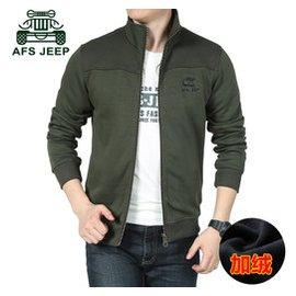 AFS JEEP戰地吉普秋裝 男士大碼長袖加絨衛衣開衫立領外套男潮