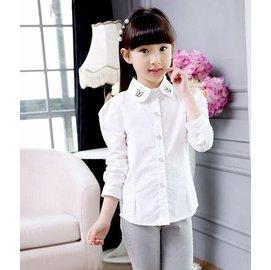 女童春秋純色休閒小襯衫兒童夏裝 棉質長袖白色襯衣中大童上衣