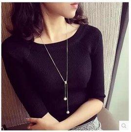 簡約微鑲鉆氣質珍珠項鍊毛衣鏈長款春夏女百 飾裝飾品購