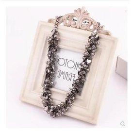 水晶項鍊女短款毛衣鏈韓國首飾品項鍊鎖骨鍊 誇張復古配飾