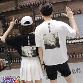 夏裝 情侶裝寬鬆休閒 棉質男女情侶半袖短袖t恤潮班服單件