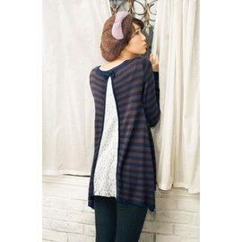 ☆UeF☆日本正品高質感條紋併接蕾絲中長版衫(咖黑條色)