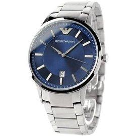 EMPORIO ARMANI 亞曼尼手錶 43mm 藍面盤 大三針 AR2477