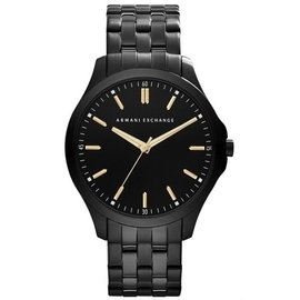 A|X Armani Exchange 極簡雅仕 主義腕錶~黑x金刻 45mm AX214