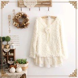 ~ShoppingYA~~ 囉!~日系森林系假兩件加厚羊羔毛絨絨蕾絲花邊長袖洋裝 柔軟保暖