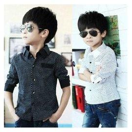 男童襯衫長袖 黑白色純棉襯衣 兒童男孩寶寶中大童