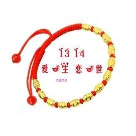 紅繩歐幣鍍黃金珠轉運珠玉珠瑪瑙珠腳鏈編織民族純銀鈴鐺男女腳繩