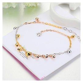 日韓 925純銀電鍍三色彩金鈴鐺腳鏈圓珠簡約細款女生飾品