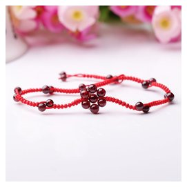 純天然水晶腳鏈石榴石編織腳鏈女 編織紅繩本命年原創飾品復古