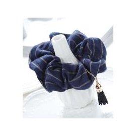 金元山珠寶銀樓~品名: 浪漫流蘇炫麗條紋大腸圈~藍2入~~尺寸:~彈性髮束~ :超彈性髮束