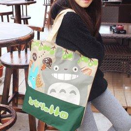 TOTORO萌物哦^~宮崎駿龍貓拉鍊肩背包手提包旅行袋 大容量休閒帆布袋