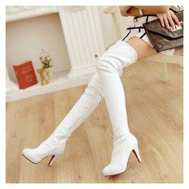 夜店高跟圓頭長靴子細跟白色過膝靴大碼側拉鏈高筒靴鼕季 女鞋