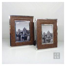 歐式高檔金屬仿皮相框相架 家居床頭櫃裝飾品擺件 結婚