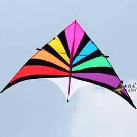炫彩三角 終極彩虹 工廠直銷濰坊風箏 尼龍傘布樹脂桿 易飛